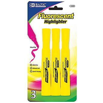 2320-24, BAZIC Yellow Desk Style Fluorescent Highlighters (3/Pack)