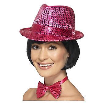 Rosa Pailletten Trilby Hut Kostüm Zubehör
