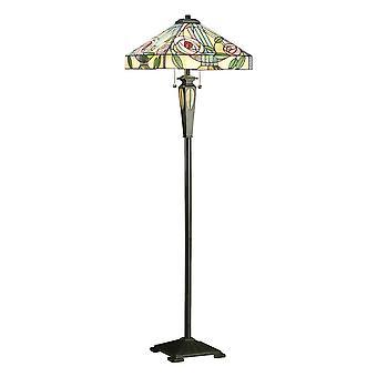 2 Ljus golvlampa mörk brons, Tiffany Style Glas, E27