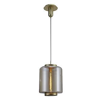 Inspiriert Mantra - Jarras - Deckenanhänger 30cm Runde, 1 x E27 (Max 40W), Matt Gold, Cognac Glas