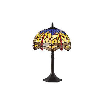 1 Light Octagonal Table Lamp E27 With 30cm Tiffany Shade, Blue, Orange, Crystal, Aged Antique Brass