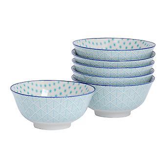 Nicola Spring 6 Piece Geometric Patterned Cereal Bowl Set - Porcelain Breakfast Dessert Serving Bowls - Electric Blue - 16cm