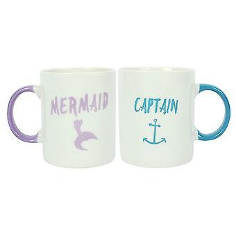 Quelque chose de différent tasses en céramique, capitaine et sirène