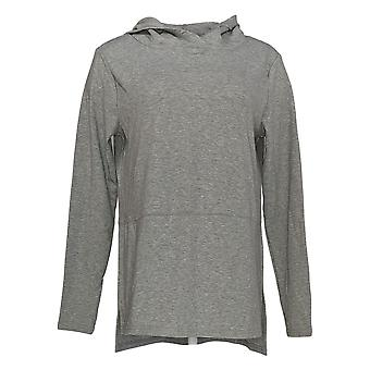 Iedereen Women's Sweater Pluche Terry Hooded Pullover Gray A372107