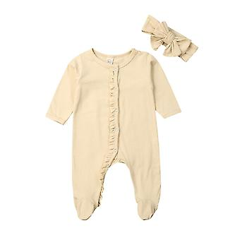 Newborn Baby Girl Boy Cotton Long Sleeve Button Ruffles Solid Color Romper Headband Pyjamas Outfits Clothes