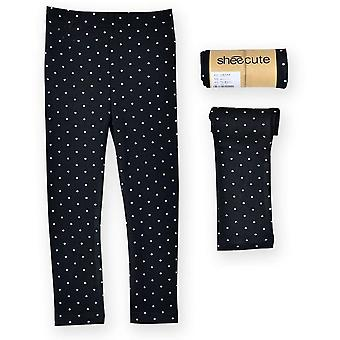 Children Girls Skinny Leggings Long Pants- Polka Dots Printed Kids Spring Autumn Cotton Bottoms Dotted Elastic Trousers