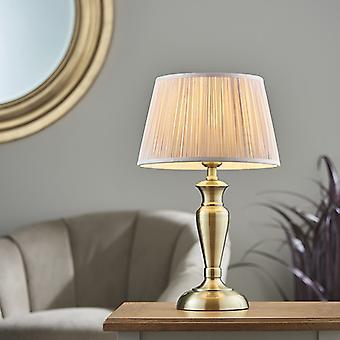 Lámpara de mesa de latón antiguo y seda rosa oscura 1 luz IP20 - E27