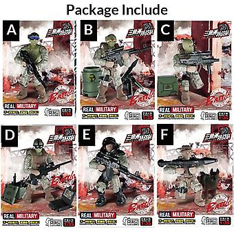 Mini Soldier Set, Swat Special Police Figurines With Building Blocks Gun- Toys