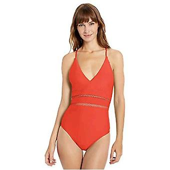 Athena Women's Plunge One Piece Swimsuit, Diamond Head Solids red, 6