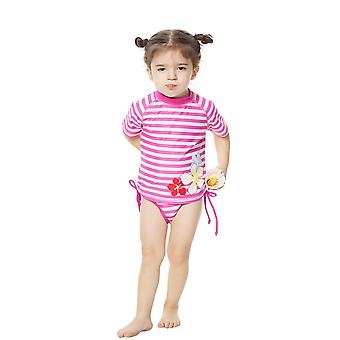 Bonverano Infant Girls Two Piece UPF 50+ Sun Protection S/S Mangas Zip Sunsuit