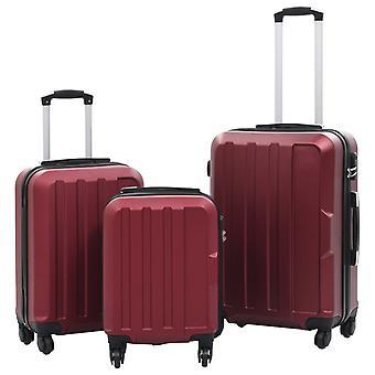 Hard Bowl Trolley Set 3 pcs. Wine Red ABS