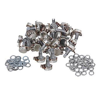 100 stuks Gitaar Potentiometer B100K Grove Knurling Split Shaft