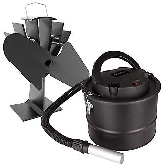 Twin blade stove fan and ash vac kit