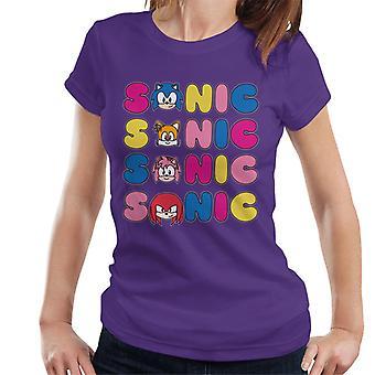 Sonic The Hedgehog Tecken Text Variation Kvinnor' s T-shirt