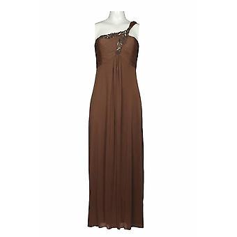 One Shoulder Embellished Ruched Flutter Hem Dress