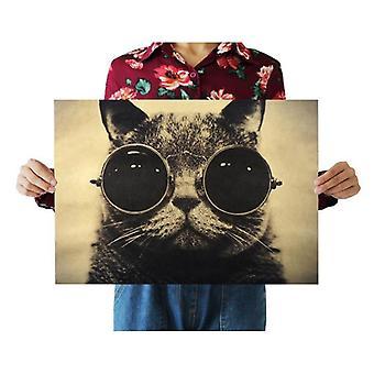 Coole Katze schwarze Gläser Dekor Vintage Kraft Papier Film Poster Home Wall Decor