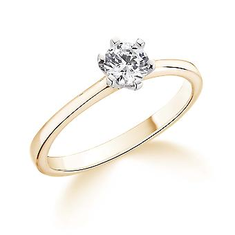 9K Yellow Gold 6 Claw 0.35Ct Certified Solitaire Diamond Engagement Ring