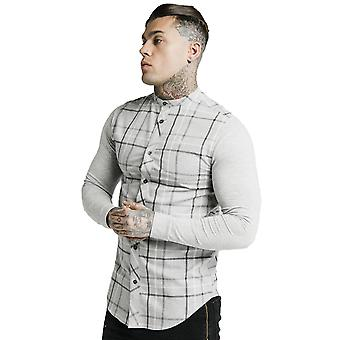 SikSilk Flannel Check Grandad Shirt - Grey Marl
