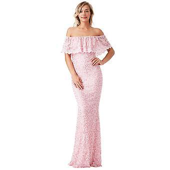 Pink lace bardot bridesmaid maxi dress