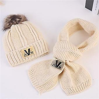 Winter Baby Kids Solid Caps Scarf Warm Wool Knitted Cute Letter Hat Beanie Neck