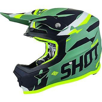 Shot Score Full Face Motocross Helmet Vert Noir Jaune Blanc ACU Approuvé