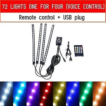 Led Car Foot Ambient Light With Usb Cigarette Lighter Backlight Music
