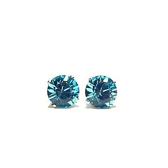 Sterling Silver Unisex Studs Earrings 2 Carat Swarovski Crystal - Blue Zircon