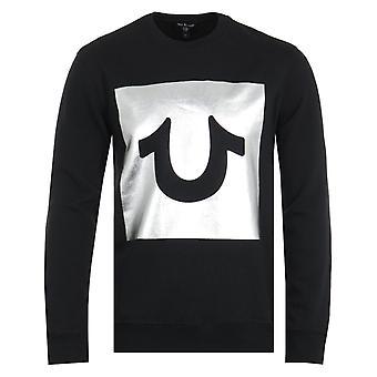 True Religion Foil Box Black Crew Neck Sweatshirt