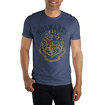 Harry potter hogwarts crest and motto draco dormiens nunquam titillandus men's blue t-shirt