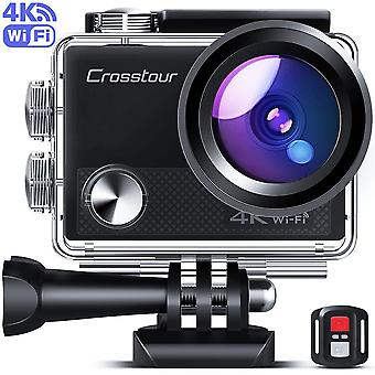 Crosstour upgraded 4k 20mp action camera cycling with wifi ldc remote control sports camera 40m wate