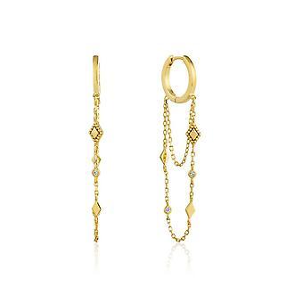 אניה Haie כסף זוהר מצופה זהב שרשרת בוהמיה ירידה מיני חישוק עגילים E016-03G