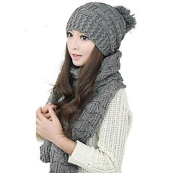 Warm Hat Set For Ladies, Acrylic Yarn Solid Scarf