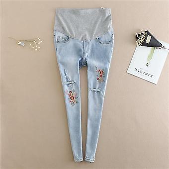Mutterschaft Jeans Kleidung, Stickerei Blume Denim Loch Bleistift Schwangerschaft Hose