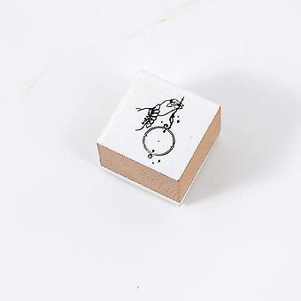 Girl Fingertip Gesture Stamps Stationery Journal Flowers Wooden Stamp Diy