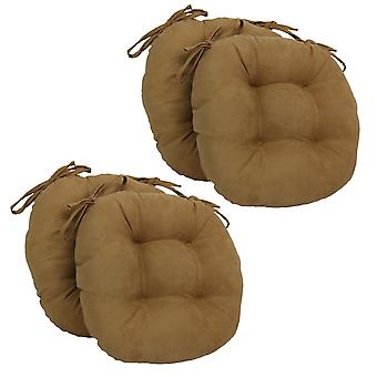 Coussins de chaise touffu rond en daim massif de 16 pouces (ensemble de 4) - Chameau