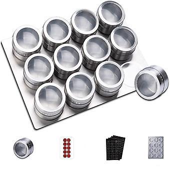 Conjunto de frascos de tempero magnético com suporte de armazenamento de exibição e etiquetas