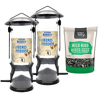 2 x Simply Direct Premium Hammertone Wild Bird Seed Feeders with 0.9KG bag of Niger Seed Feed