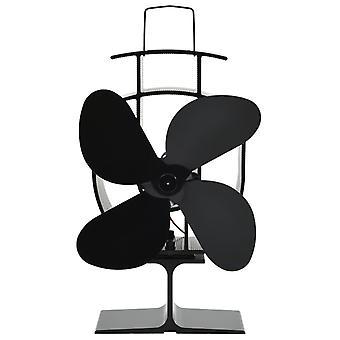 vidaXL chauffant ventilateur de cheminée 4 feuilles noir