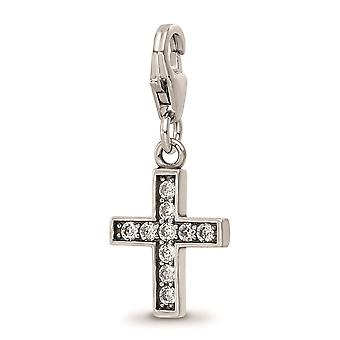 925 Sterling Silver Reflections Rhod plated CZ Cubic Zirconia Simulated Diamond Religious Faith Cross Click on Bead Jewe