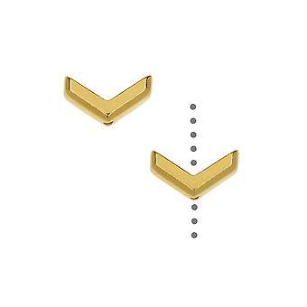 Perline di peltro TierraCast, design chevron sfaccettato 5,5x10 mm, 2 pezzi, placcato oro 22K