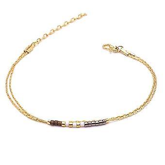 Benava, women's friendship bracelet, minimalist, multiwire with Seed Bead Gold glass beads 15-19 cm, adjustable Ref. 4744999040444