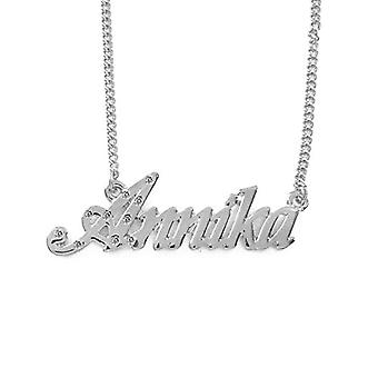 """L Annika - 18-carat White Gold Plated Necklace, with Customizable Name, Adjustable Chain of 16""""- 19"""", in Ref Packaging. 496330314237"""