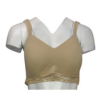 Rhonda Shear Seamless Cup Bra with Lace Hem Beige 673240