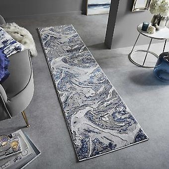 Marbled Modern Abstract Hallway Runner Rugs In Navy Blue