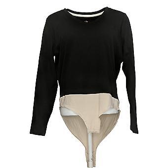 Isaac Mizrahi Live! Tute Pima Cotton BodySuit Nero A384113