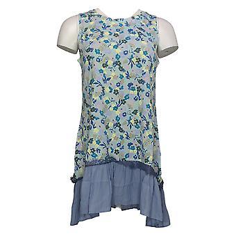 LOGO by Lori Goldstein Women's Top Floral Print Tank W/ Ruffle Blue A305449