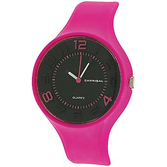 Cannibal Active Girls Black Dial & Bright Pink Rubber Strap Watch CL229-03