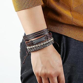 Retro Handmade Weaving Bracelet Set DIY Hemp Rope Bracelet 4 Pieces For Men