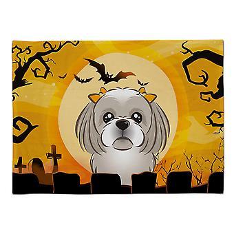 Caroline's Treasures BB1808PLMT Halloween Grau Silber Shih Tzu Stoff Tischset, Multicolor