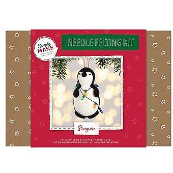 Needle Felting Kit in a Box - Penguin with Fairy Light - Craft Kit